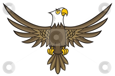 Eagle cartoon stock vector clipart, Funny looking eagle cartoon with open wings by fractal.gr