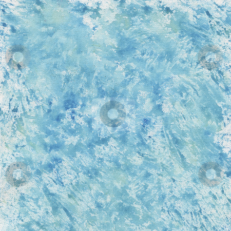 Blue watercolor splashes stock photo, Blue watercolor painted abstract on white artist canvas, self made by photographer by Marek Uliasz