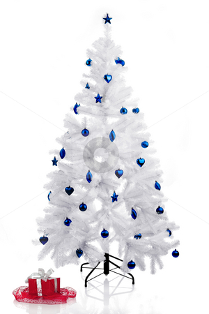 Christmas Tree stock photo, Christmas white tree and a red gift over a white background by ikostudio