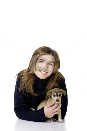 Woman with a puppy stock photo, Portrait of a happy woman with her cute puppy by ikostudio