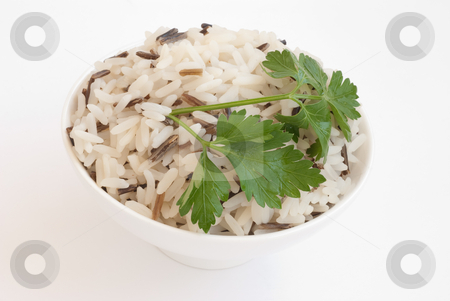 Bowl with boiled rice stock photo, White ceramic bowl with boiled rice isolated on white by Svetlana Starkova