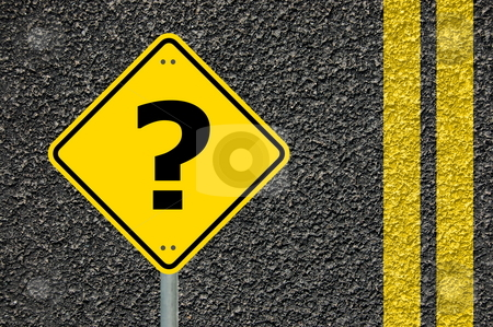 Question concept stock photo, Question concept with interrogation mark on roadsign by Gunnar Pippel