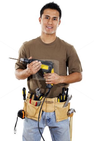 Handyman stock photo, Stock image of handyman over white background by iodrakon