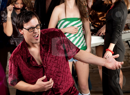 Nerdy man dancing stock photo, Nerdy man dancing at a 1970s Disco Music Party by Scott Griessel
