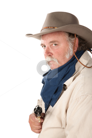Big cowboy with pistol on white background stock photo, Big tough cowboy with pistol on white background by Scott Griessel