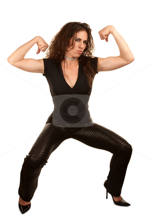 Pretty woman flexing stock photo, Pretty woman in black flexing her muscles by Scott Griessel