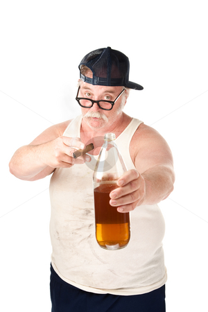 Fat man with cigar and bottle of beer stock photo, Obese man in tee shirt on white background with bottle and cigar by Scott Griessel