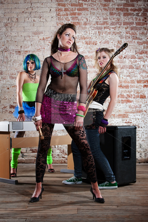 Female punk rock band stock photo, Young all girl punk rock band performers by Scott Griessel