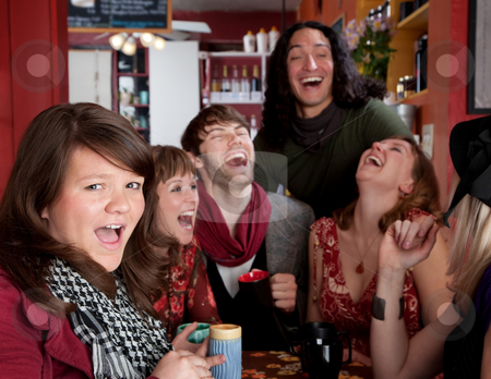 Good times stock photo, Six friends having an embarassingly good time at a cafe by Scott Griessel
