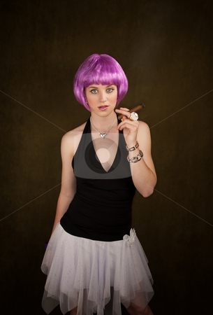 Woman with Purple Hair and Cigar stock photo, Portrait of woman with shiny purple hair by Scott Griessel