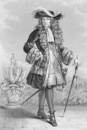 Louis XIV of France stock photo, Louis XIV of France (1638 -1715) on engraving from 1886. King of France from 1643 to 1715. Engraved by J.Cook and published in London by Richard Bentley & Son in 1886. by Georgios Kollidas