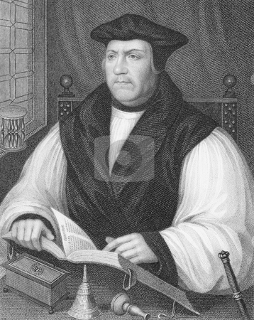 Matthew Parker stock photo, Matthew Parker (1504-1575) on engraving from the 1800s. Archbishop of Canterbury during 1559-1575. Engraved by W.Holl and published by the London Printing and Publishing Company. by Georgios Kollidas