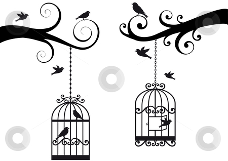 Birdcage and birds, vector stock vector clipart, Ornamental tree branches with birdcage and birds, vector background by Beata Kraus
