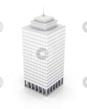 Skyscraper stock photo, 3D rendered illustration. Isolated on white. by Michael Osterrieder