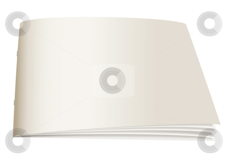 Paper back book angle stock vector clipart, White paper back book with fan open pages by Michael Travers