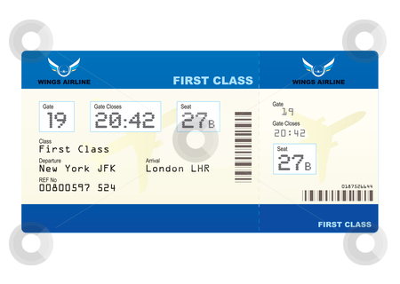 Plane ticket stock vector clipart, First class boarding pass or plane ticket with destination by Michael Travers