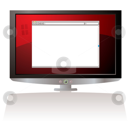LCD red web browser monitor stock vector clipart, LCD Monitor with red background and web browser by Michael Travers