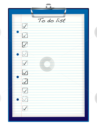 Clip board to do stock vector clipart, Blue business clip board with to do list and tick box by Michael Travers