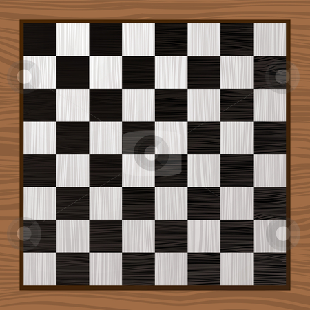 Black and white chess board stock vector clipart, Black and white wooden chess board with grain background by Michael Travers