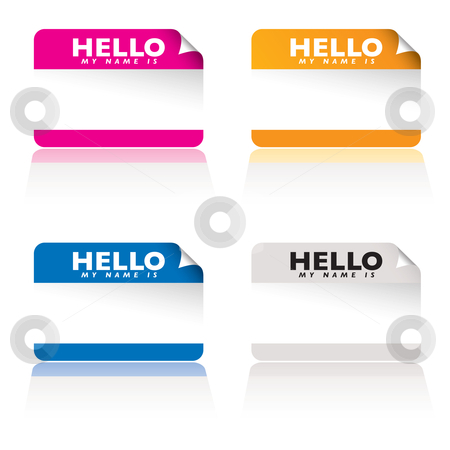 Hello my name is variation stock vector clipart, Brightly coloured name tag card with corner curl and shadow reflection by Michael Travers