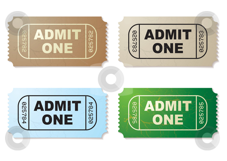 Admit one ticket set stock vector clipart, Collection of four old fashioned paper tickets admit one by Michael Travers