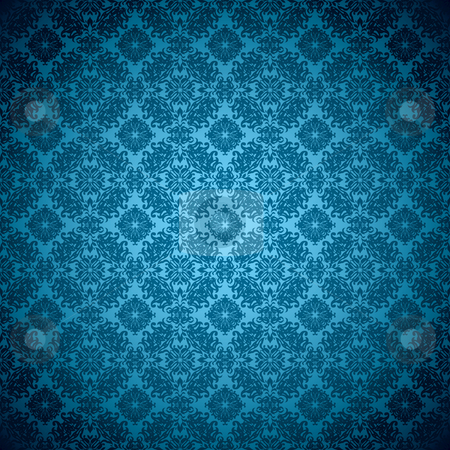 Gothic seamless green wallpaper stock vector clipart, Blue wallpaper pattern seamless design with floral elements by Michael Travers