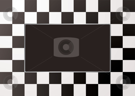 Checkered mono picture frame stock vector clipart, Black and white checkered picture frame with silver bevel by Michael Travers