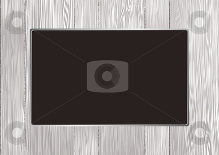 White wood frame stock vector clipart, White wooden picture frame with silver metal bevel by Michael Travers