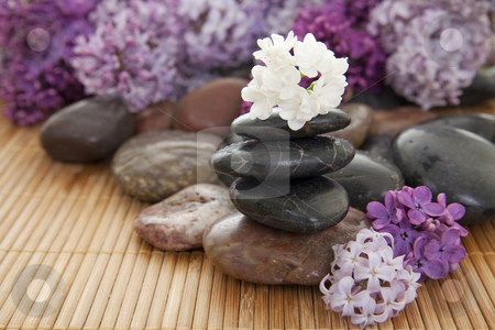 Stack of rocks stock photo, Pile of rocks with flowers on a bamboo mat. Focus on white flower on top of stack. by Christy Thompson