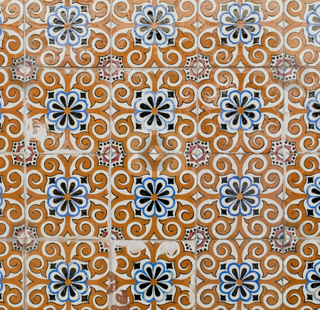 Portuguese glazed tiles 176 stock photo, Detail of Portuguese glazed tiles. by Homydesign