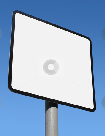 Square blank white sign ready for text. stock photo, Square blank white sign ready for text. by Stephen Rees