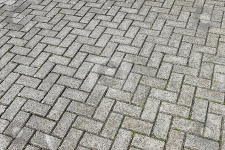 Gray paving cobblestone blocks pattern background. stock photo, Gray paving cobblestone blocks pattern background. by Stephen Rees