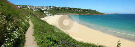 Carbis Bay beach panorama, Cornwall UK. stock photo, Carbis Bay beach panorama, Cornwall UK. by Stephen Rees