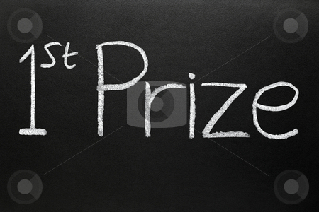 1st prize written on a blackboard. stock photo, 1st prize written on a blackboard. by Stephen Rees