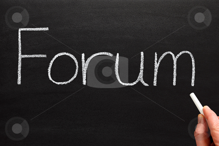 Writing forum with white chalk on a blackboard. stock photo, Writing forum with white chalk on a blackboard. by Stephen Rees