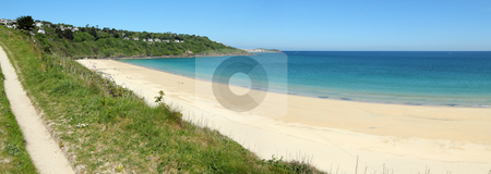 Carbis bay sandy beach panorama in Cornwall UK. stock photo, Carbis bay sandy beach panorama in Cornwall UK. by Stephen Rees
