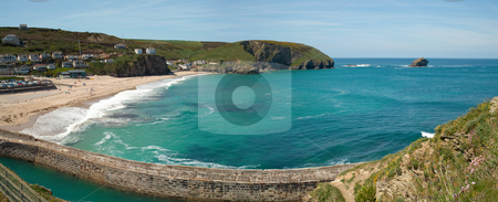 Panorama of Portreath beach, pier and gull rock island in Cornwall UK. stock photo, Panorama of Portreath beach, pier and gull rock island in Cornwall UK. by Stephen Rees