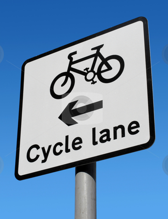 Cycle lane sign. stock photo, Cycle lane sign. by Stephen Rees