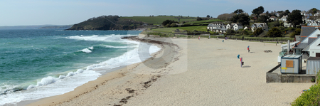 Gyllyngvase beach panorama in Falmouth, Cornwall UK. stock photo, Gyllyngvase beach panorama in Falmouth, Cornwall UK. by Stephen Rees