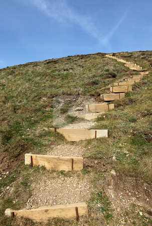Steps to the top of a hill on the Cornish coast path. stock photo, Steps to the top of a hill on the Cornish coast path. by Stephen Rees