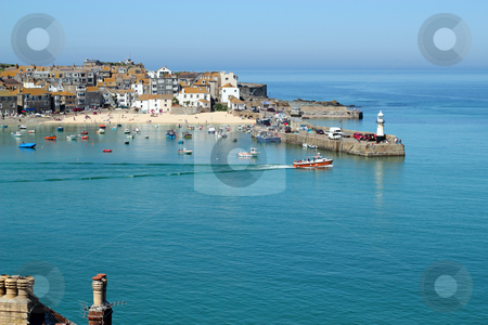 St. Ives harbour still sea, Cornwall UK. stock photo, St. Ives harbour still sea, Cornwall UK. by Stephen Rees
