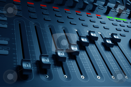 Audio Mixing Board Sliders stock photo, Close-up of audio mixing board sliders by J.R. Bale