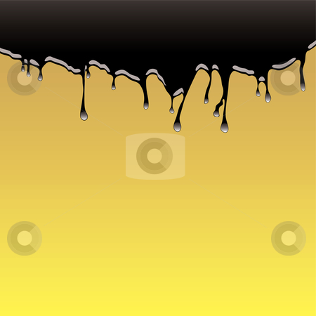 Oil spill background stock vector clipart, Oil spill or slick background with golden sandy beach and black sea by Michael Travers