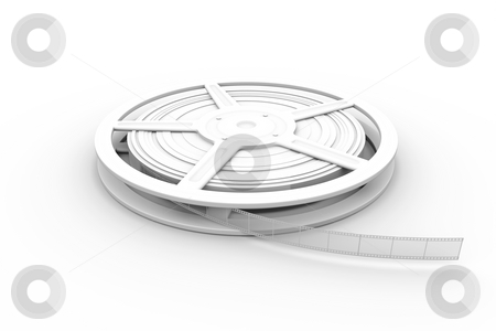 Film Reel stock photo, 3D rendered Illustration. Isolated on white. by Michael Osterrieder