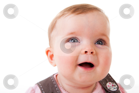 Toddler Looking Up and Laughing - Isolated stock photo, An adorable baby girl is laughing while looking upwards.  Horizontal shot.  Isolated on white. by Angela Hawkey