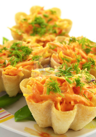 Delicious tartlet stock photo, Delicious tartlets with carrot on the plate by Vladimir Gladcov