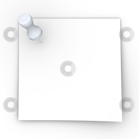 Pinned Note stock photo, 3D rendered Illustration. Blank pinned note. Isolated on white. by Michael Osterrieder