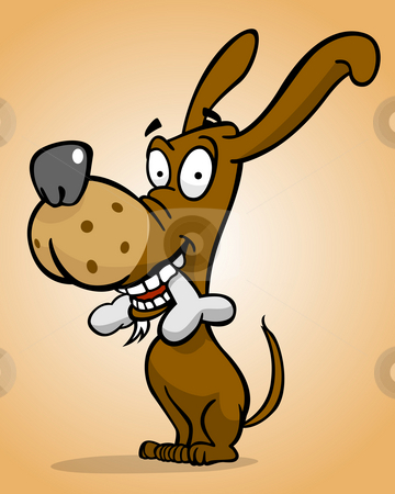 Happy dog with bone stock photo, Cartoon style happy dog with bone by Giordano Aita