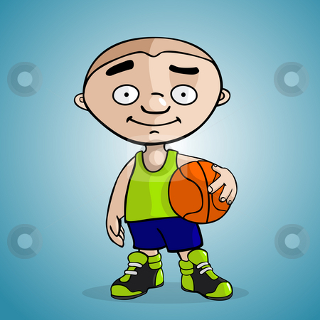 Basketball player stock photo, A basketball player draw in cartoon style by Giordano Aita