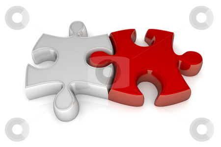 Jigsaw puzzle stock photo, Two pieces of puzzle in connection between they by Giordano Aita